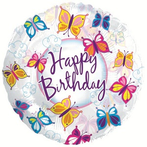 Фольгированный Круг, С Днем рождения (бабочки), Прозрачный (46 см)