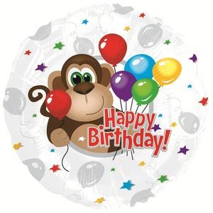 Фольгированный Круг, С Днем рождения (обезьянка) , Серебро (46 см)
