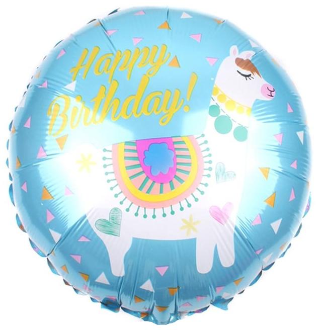 Фольгированный Круг, С Днем рождения (лама), Голубой (46 см)