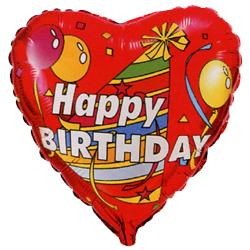 Фольгированное Сердце, С Днем рождения (колпак и шары), Красный (46 см)