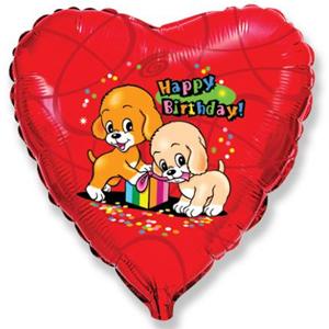 Фольгированное Сердце, С Днем рождения (собачки с подарком), Красный (46 см)