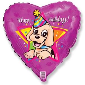 Фольгированное Сердце, С Днем рождения (щенок в колпаке), Фуксия (46 см)