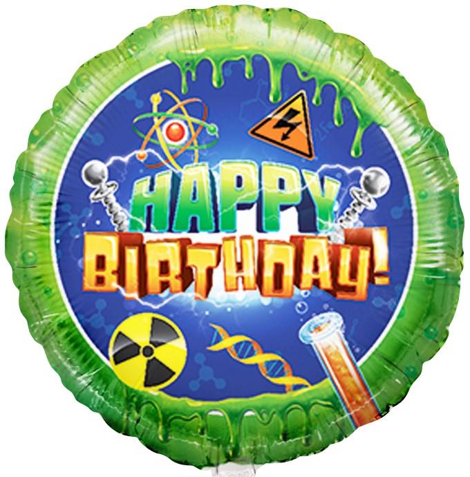 Фольгированный Круг, С Днем рождения (наука), Зеленый (46 см)