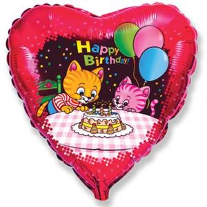 Фольгированное Сердце, С Днем рождения (коты с тортом и шариками), Красный (46 см)