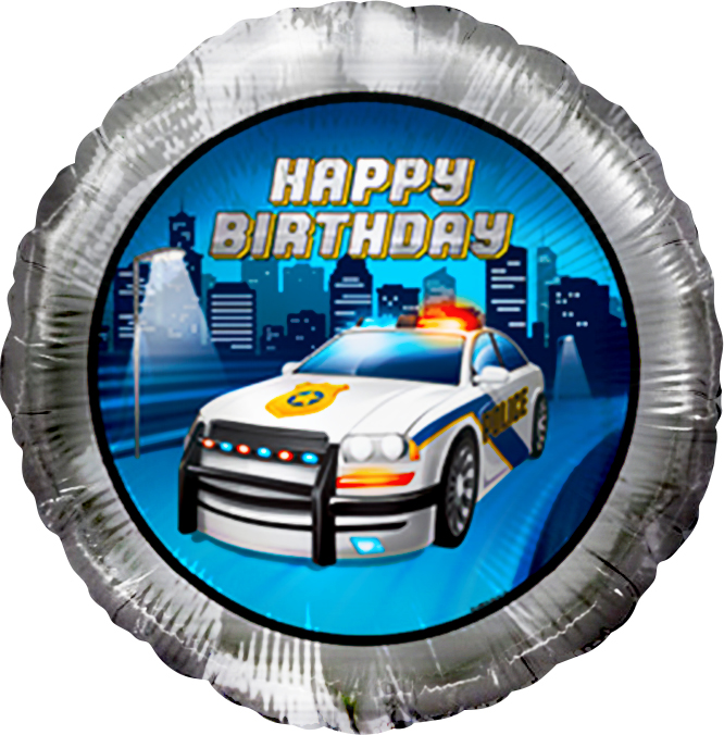 Фольгированный Круг, С Днем рождения (полицейская машина), Серебро (46 см)