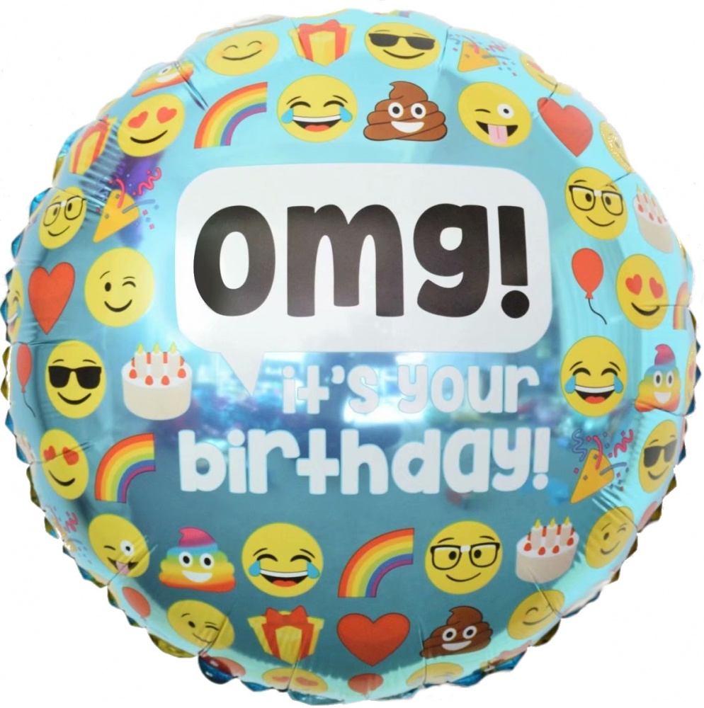Фольгированный Круг, С Днем рождения (смайлы), Голубой (46 см)