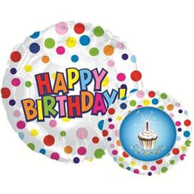 Фольгированный Круг, С Днем рождения (пирожное), Белый (46 см)