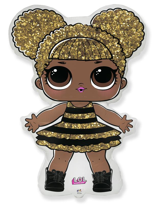 """Фольгированная фигура """"Куколка лол LOL сияющая королева"""", золотой (86 см)"""
