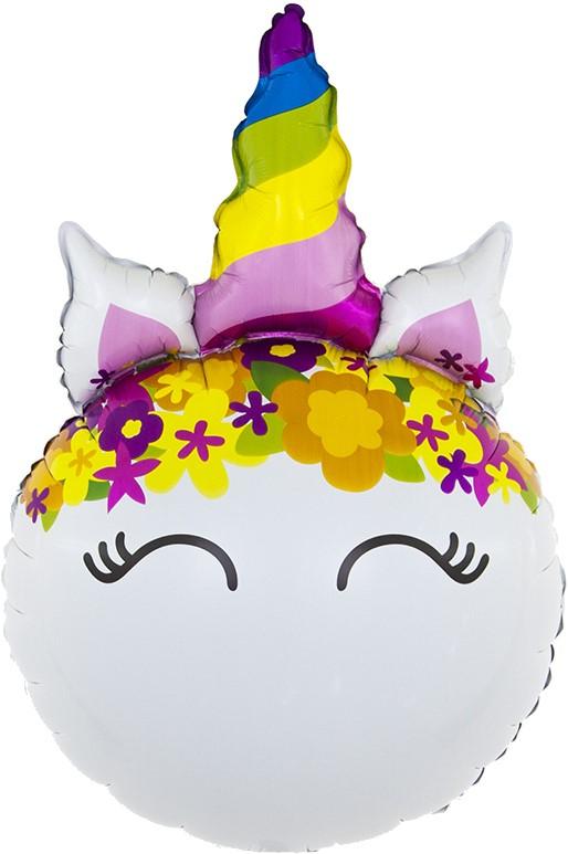 """Фольгированная фигура """"Голова, Цветочный Единорог"""" (79 см)"""