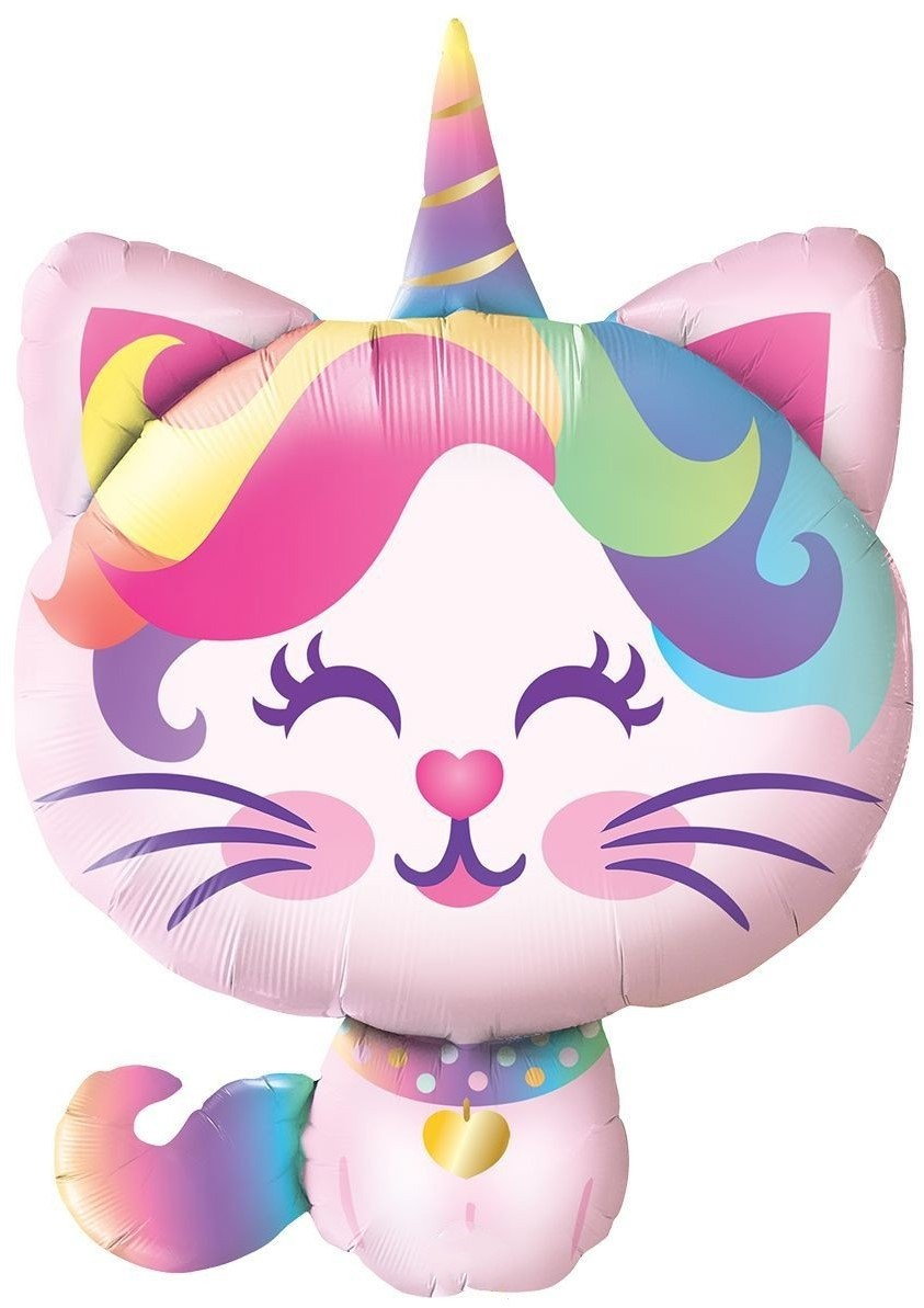 Фольгированная фигура Котёнок единорог, Радужный (91 см)