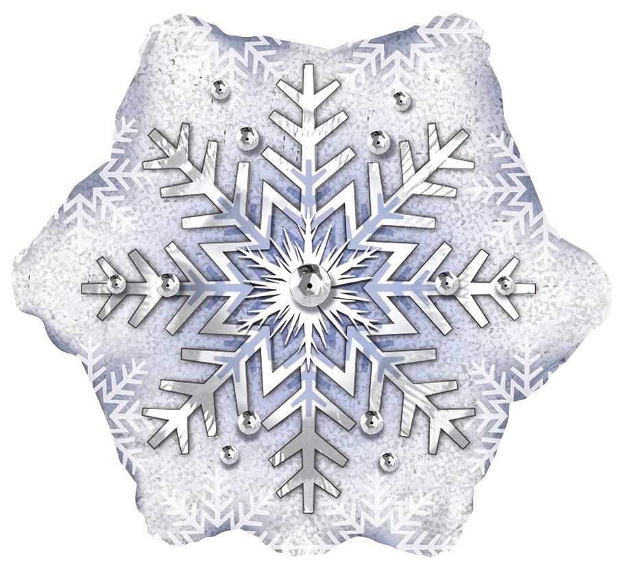"""Фольгированная фигура """"Снежинка"""", Белая (56 см)"""