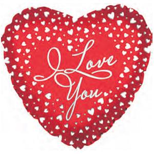 Фольгированное Сердце, Я люблю тебя (водопад сердец), Красный (46 см)