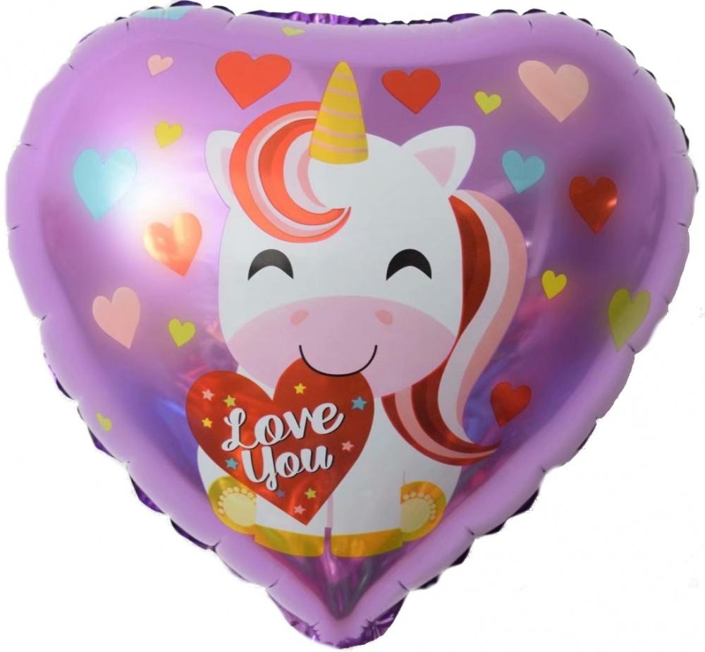 Фольгированное Сердце, Люблю Тебя (единорог и сердечки), Сиреневый (46 см)