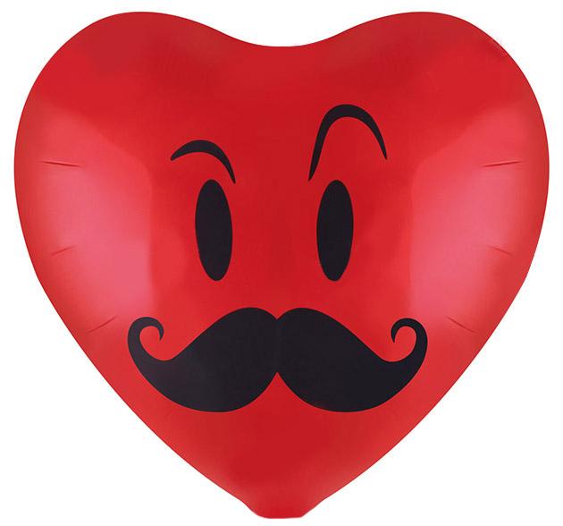 Фольгированное Сердце, Смайл с усами, Красный (46 см)