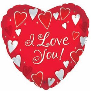 Фольгированное Сердце, Я люблю тебя (классик), Красный (46 см)