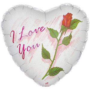 Фольгированное Сердце, Я люблю тебя (роза), Белый (46 см)