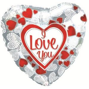 Фольгированное Сердце, Я люблю тебя (мозаика из сердечек), Серебро (46 см)