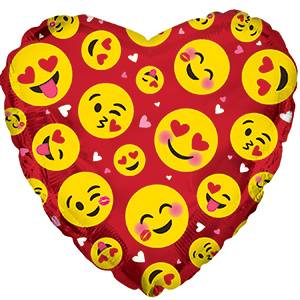 Фольгированное Сердце, Влюбленные смайлы, Красный (46 см)