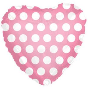 Фольгированное Сердце, В белый горошек, Розовый (46 см)