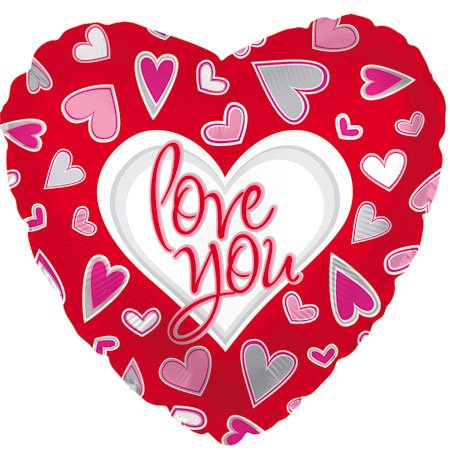 Фольгированное Сердце, Я люблю тебя (причудливые сердца), Красный (46 см)