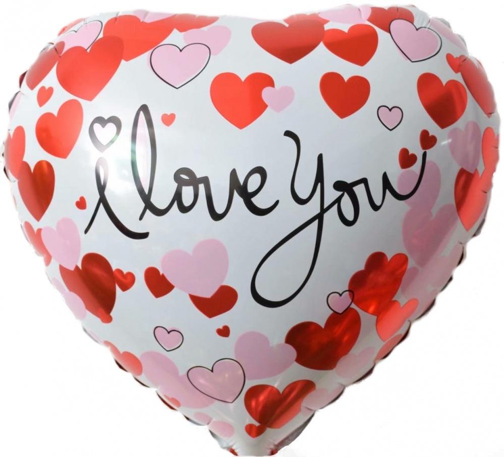 Фольгированное Сердце, Я Люблю Тебя (сердечки), Белый (46 см)