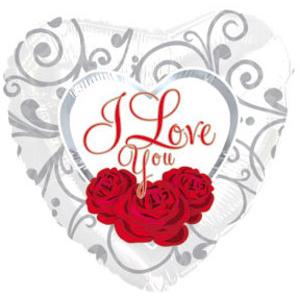Фольгированное Сердце, Я люблю тебя (три розы на белом), Белый (46 см)