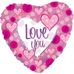 Фольгированное Сердце, Я люблю тебя (сердечки), Розовый, Голография (46 см)