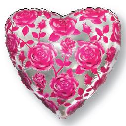 Фольгированное Сердце, Розы, Фуксия (46 см)