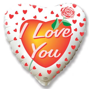 Фольгированное Сердце, Роза любви, Белый (46 см)
