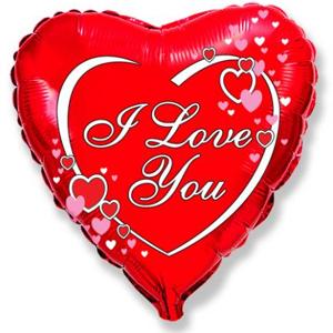 Фольгированное Сердце, Я люблю тебя (влюбленные сердца), Красный (46 см)