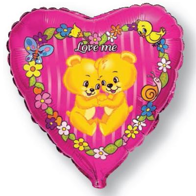 Фольгированное Сердце, Люби меня, Фуксия (46 см)