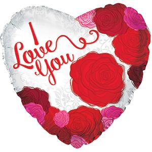 Фольгированное Сердце, Я люблю тебя (розы), Красный (46 см)