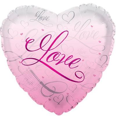 Фольгированное Сердце, Романтичная любовь, Розовый (46 см)