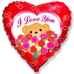 Фольгированное Сердце, Медведь с розами, Красный (46 см)