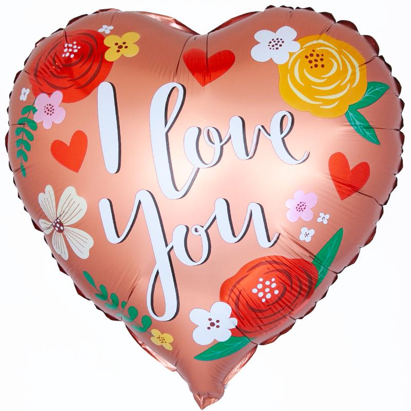 Фольгированное Сердце, Я Люблю Тебя (цветы), Розовое Золото, Сатин (46 см)
