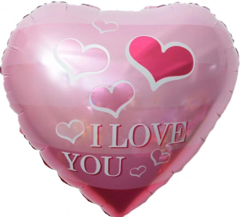 Фольгированное Сердце, Я Люблю Тебя (летящие сердечки), Розовый (46 см)