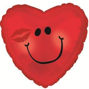Фольгированное Сердце, Смайл с поцелуем, Красный (46 см)