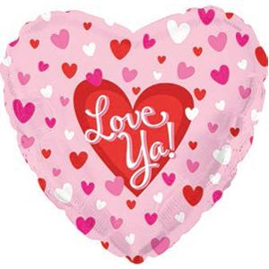 Фольгированное Сердце, Я люблю тебя (маленькие сердечки), Розовый (46 см)
