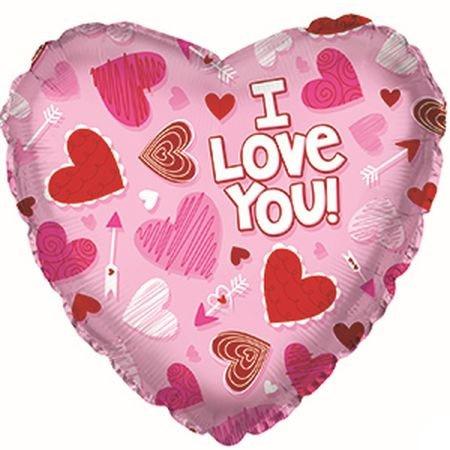 Фольгированное Сердце, Я люблю тебя (сердечки на розовом) (46 см)
