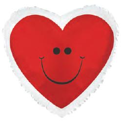 Фольгированное Сердце, Сердце с улыбкой, Красный (46 см)
