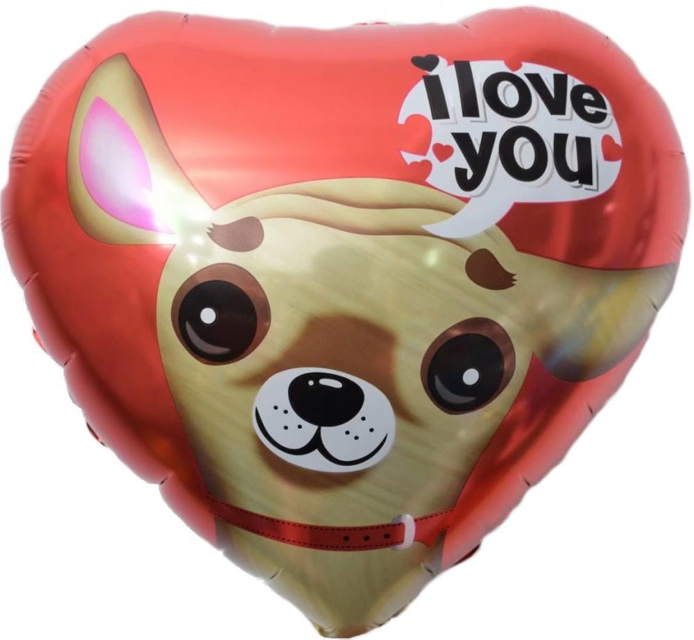 Фольгированное Сердце, Я Люблю Тебя (чихуахуа), Красный (46 см)