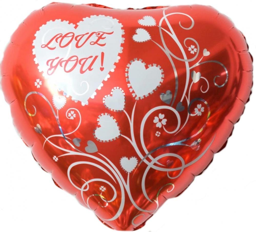 Фольгированное Сердце, Люблю Тебя! (узоры), Красный (46 см)