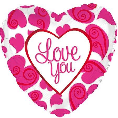 Фольгированное Сердце, Я люблю тебя (неоновые сердца), Белый (46 см)