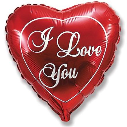 Фольгированное Сердце, Я люблю тебя, Красный (46 см)
