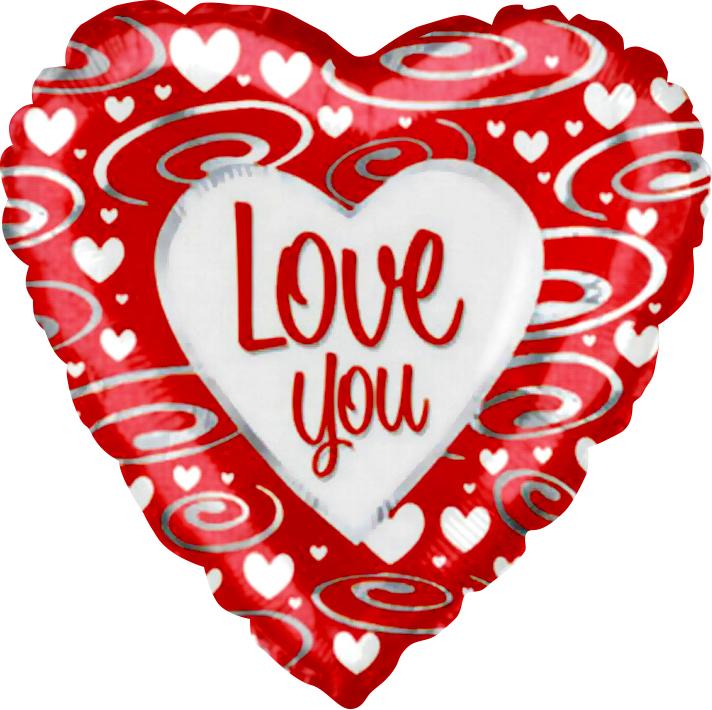 Фольгированное Сердце, Я люблю тебя (серебряные завитки), Красный (46 см)