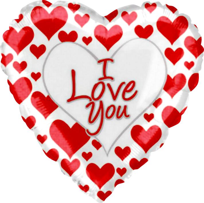 Фольгированное Сердце, Я люблю тебя (простые красные сердечки), Белый (46 см)