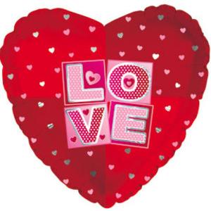 Фольгированное Сердце, Я люблю тебя (квадраты), Красный (46 см)