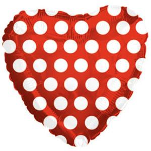Фольгированное Сердце, В белый горошек, Красный (46 см)