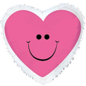 Фольгированное Сердце, Сердце с улыбкой, Розовый (46 см)