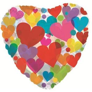 Фольгированное Сердце, Сердце с разноцветными сердечками, Прозрачный (46 см)